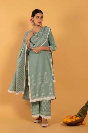 Teal Hand Printed Cotton Harita Khari Kurta set