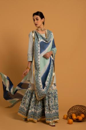 Blue Hand Printed Cotton Mrinalini Ambar Sharara Set