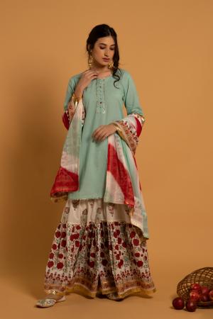 Green Hand Printed Cotton Mrinalini Gulaal Sharara Set