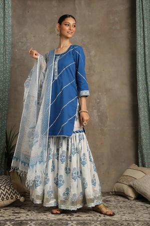 Ivory and blue Sharanya Neel Kurta set