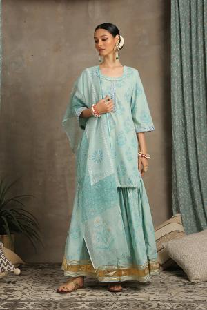 Sea green and blue Sharanya Amber Kurta set