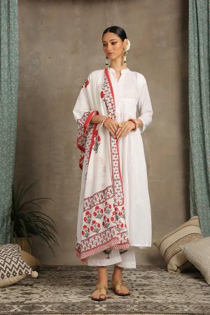 Red and white Mahira Kurta set