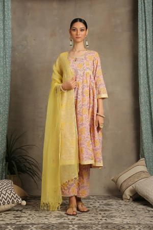 Peach and yellow Mohena Amaltas Kurta set