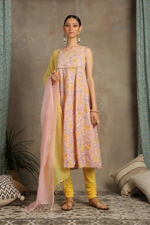Peach and yellow Brijeshwari Amaltas Kurta set