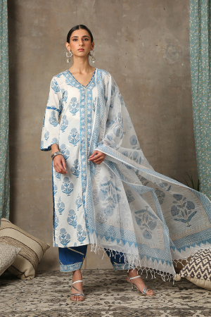 Blue and white Sahar Neel Kurta set