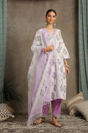 Lavender and white Sahar Kurta set