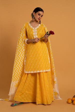 Yellow Hand Printed Cotton Mandakini Haldi Kurta Skirt Set