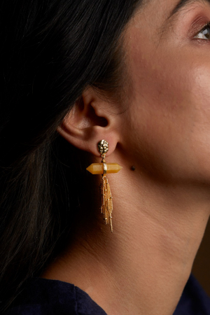 Ellora Waterfall Earrings - Citrine
