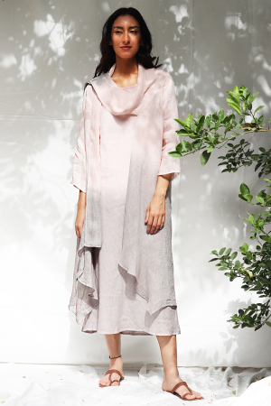 Kiya Ombre Hand-Dyed Blush Linen Dress and Jacket