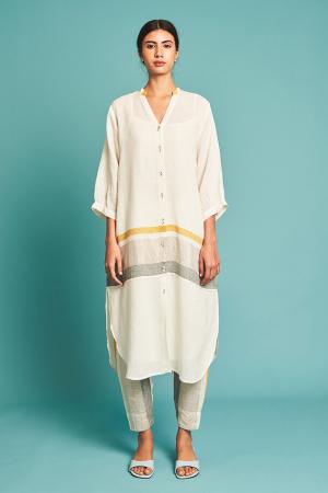 Ivory Nia Striped Linen Kurta Set
