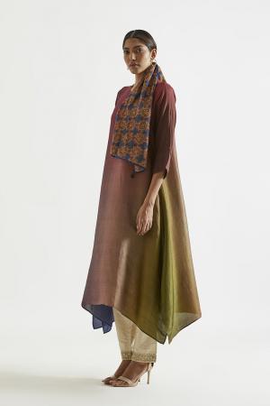 Olive Navy Maroon Ombre hued Asymmetric Dress kurta with silk printed stole