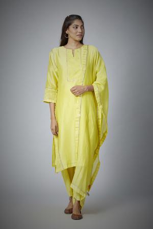 Lime yellow Chanderi straight Kurta with woven zari stripe pants