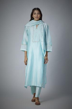 Powder blue Chanderi straight Kurta with woven zari stripe pants