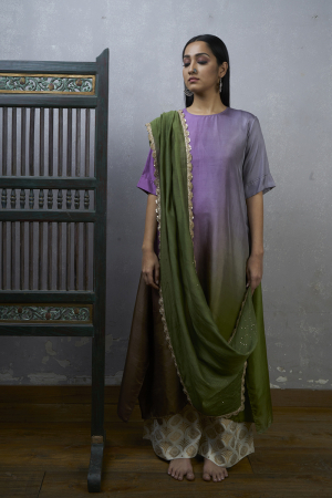 Lavender green Ombre hued Asymmetric kurta with pants and dupatta.