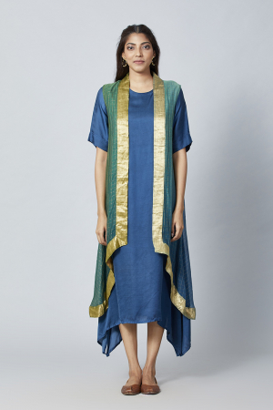 Blue green Blue Green Ombre kurta  with ombre cape(2 pc)