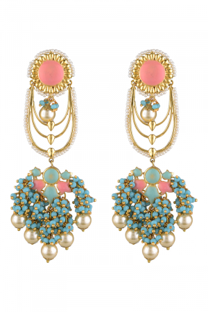 Gold Finish Floral Drop Earrings