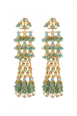 Gold Finish Drop Earrings With Pearls