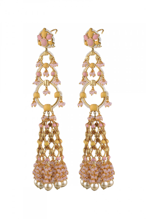 Gold Finish Floral Jhumka Earrings