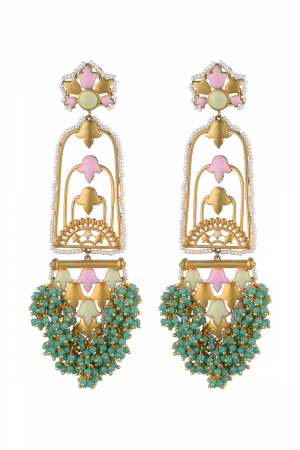 Gold Finish Pearl Floral Drop Earrings