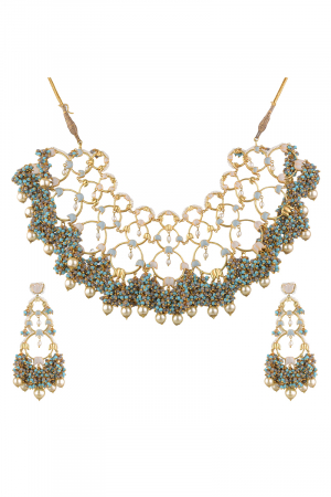 Gold Finish Pearl Floral Necklace Set