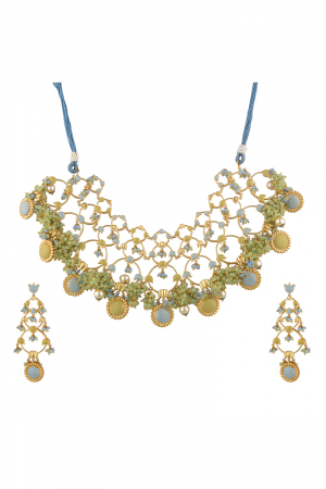 Gold Finish Floral Necklace Set