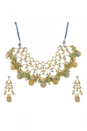 Gold Finish Floral Necklace Set