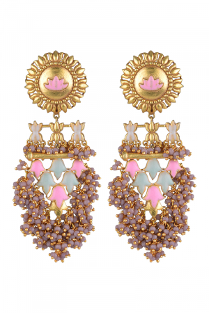 Gold Finish Floral Long Earrings
