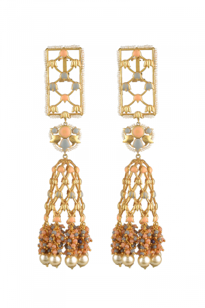 Gold Finish Floral Earrings