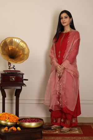 Sindoori gul zardoze kurta set