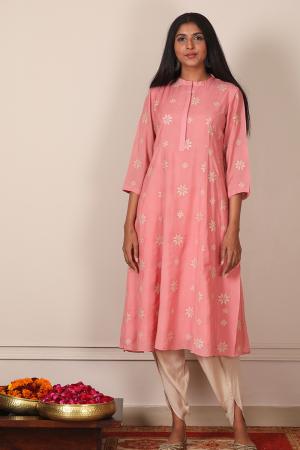 dusky pink phulkari embroidered kurta