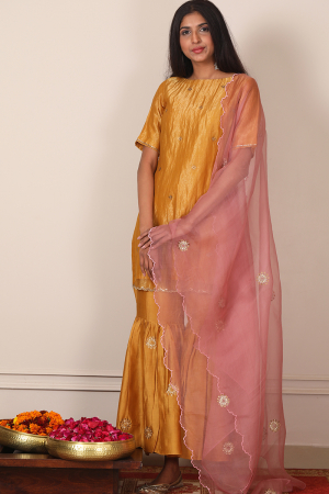 ochre yellow zari chanderi garara set