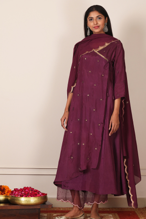 plum embroidered angrakha set