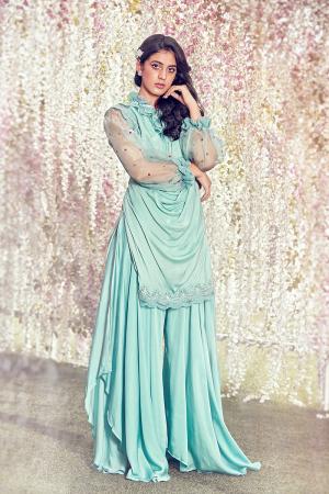 Ether blue draped short kurta  set