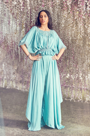 Ether blue kaftan top and flarred pants
