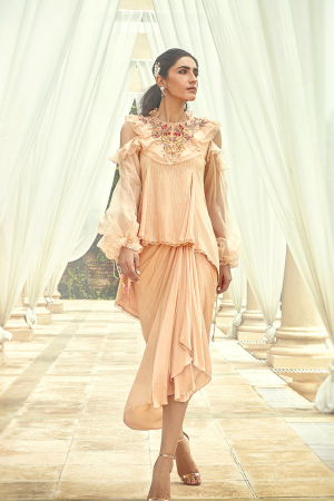 Apricot wash godet cold shoulder high low top with draped skirt
