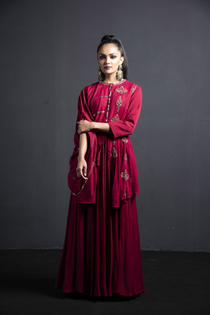 wine double layer gown