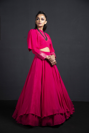fuchsia power shoulder top with skirt