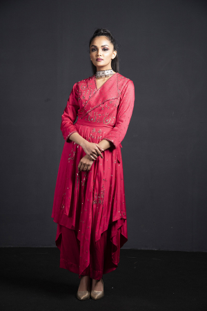 coral indo-western  kurta with tie-knot belt and palazzo pants