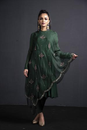 Emrald green Anarkali with chudidaar and drape organza dupatta