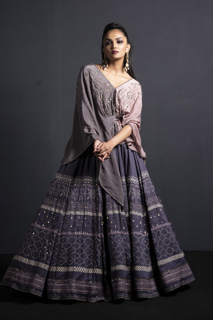 Embroidered Lehenga with fossil grey kaftaan style blouse
