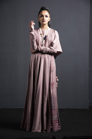 pink gown with attached panel