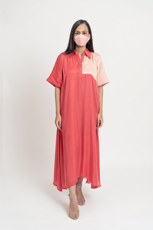 Coral and Pale Coral colored flared Midi Dress