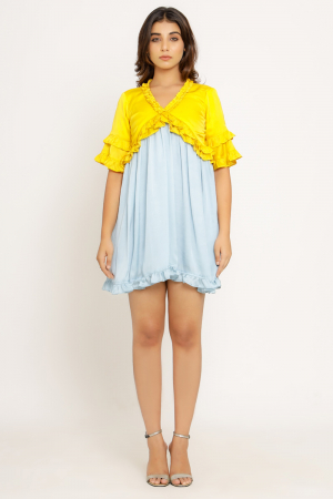 Yellow-Ice Blue Frill Dress