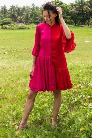 Red-Pink Half & Half Dress