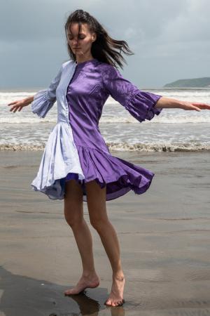 Purple-Lilac Half & Half Dress