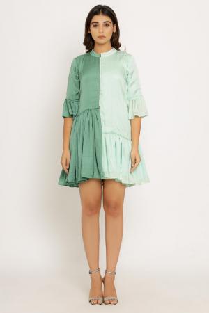 Teal-Tea Green Half & Half Dress