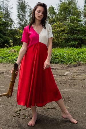Red-Pink Midi Dress