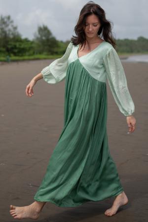 Teal-Tea Green Maxi Dress