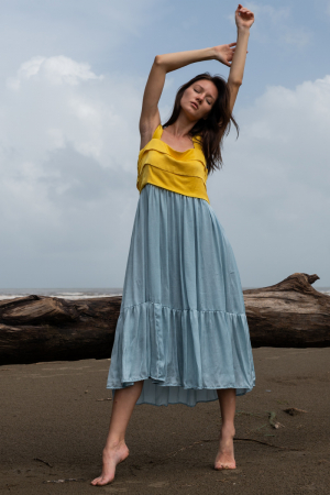 Yellow-Ice Blue Midi Dress