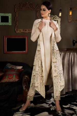 Embroidered Halter Jacket With Kurta Pants
